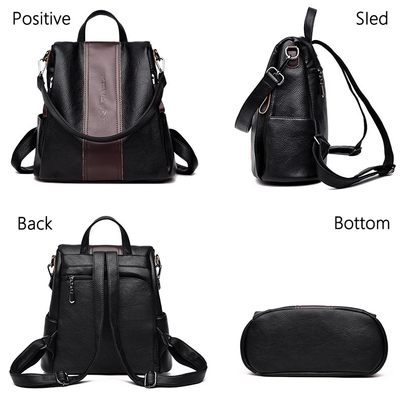 Bags Large Capacity Back2019 Women Backpack Designer high quality Leather Women Bag Fashion Schoolpacks Travel Bags Girls bag in Backpacks from Luggage Bags