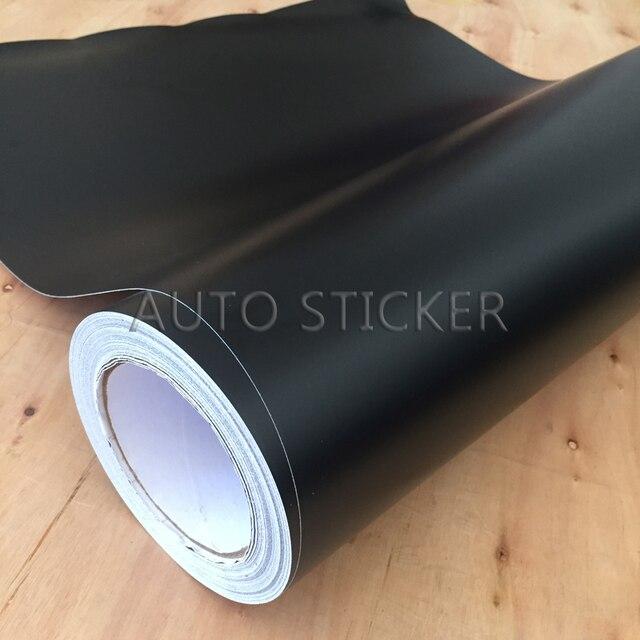 Papier vinyle noir mat 10/20/30/40/50cm * 152cm livraison rapide, Membrane autocollante de style de voiture sans bulles à dégagement dair