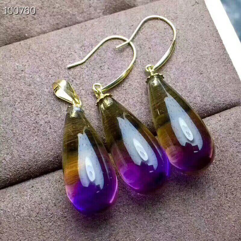 MeiBaPJ Natural Amethyst Gemstone Water Drop Earrings Necklace Set Real 18K Pure Gold Purple Stone