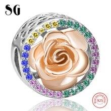 Cubic Zirconia Hollow Love Heart Rose Flower Bead Fit Silver 925 Original pandora Charms Bracelet For Women Fashion Jewelry
