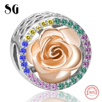 Cubic Zirconia Hollow Love Heart Rose Flower Bead Girl Fit Silver 925 Original Pandora Charms Bracelet For Women Fashion Jewelry