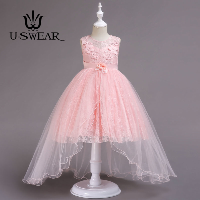 U-SWEAR 2019 New Arrival Kid   Flower     Girl     Dresses   O-neck Sleeveless   Flower   Pearls Beaded Bow Lace Ball Gown Ruffles Vestidos