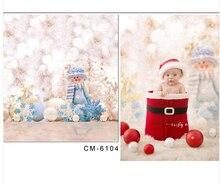 ฉากหลังคริสมาสต์การถ่ายภาพฉากหลังสำหรับภาพถ่ายทารกสตูดิโอมนุษย์หิมะของเล่นFotografiaพื้นหลัง