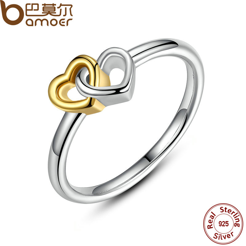 BAMOER Summer Collection 925 Sterling Silver Heart to Heart Ring Double Heart Fine Jewelry for Women
