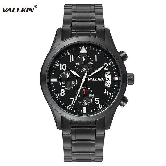 e5f21d2bf65 Mens marca de luxo preto relógios de pulso masculino relógios de quartzo homem  relógio de aço