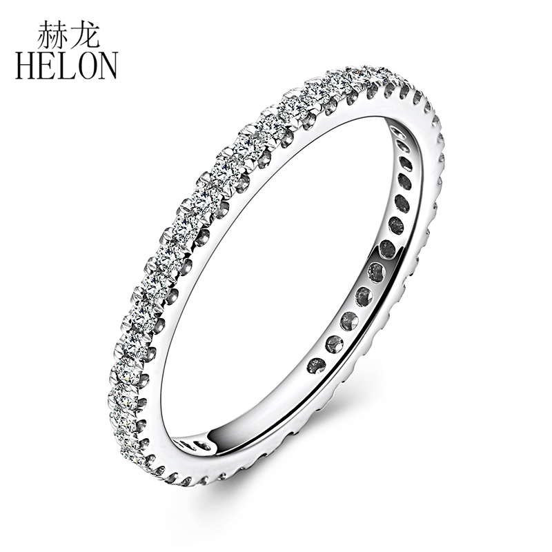 HELON SI/H Natural Diamonds 0.33CT Engagement Ring Solid 18K AU750 White Gold 1.5mm Wide band Wedding Ring Women Trendy Jewelry solid 14k white gold engagement ring for women 100% si h natural diamonds wedding band millgrain v shape trendy jewelry