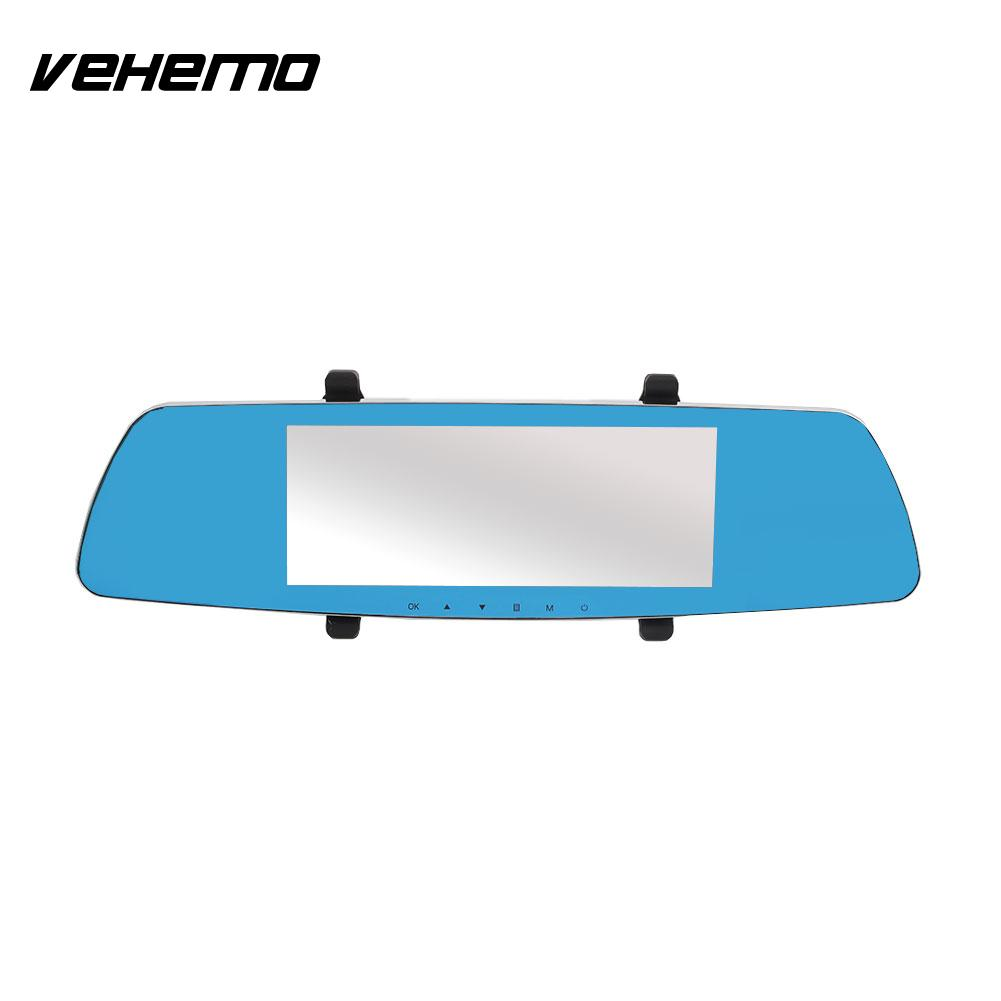 Vehemo 2.5D IPS Screen Rearview Mirror Car DVR Touch Screen Dash Cam Durable G-Gensor Camcorder Video Recorder Premium