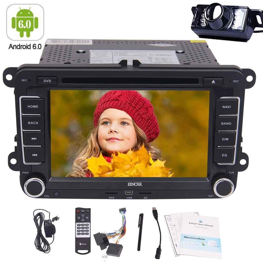 Android 6.0 Quad-core Double Din Car Stereo Auto Radio Car DVD Player GPS Nav 4G/3G Can-bus/External Mircophone/Backup Camera