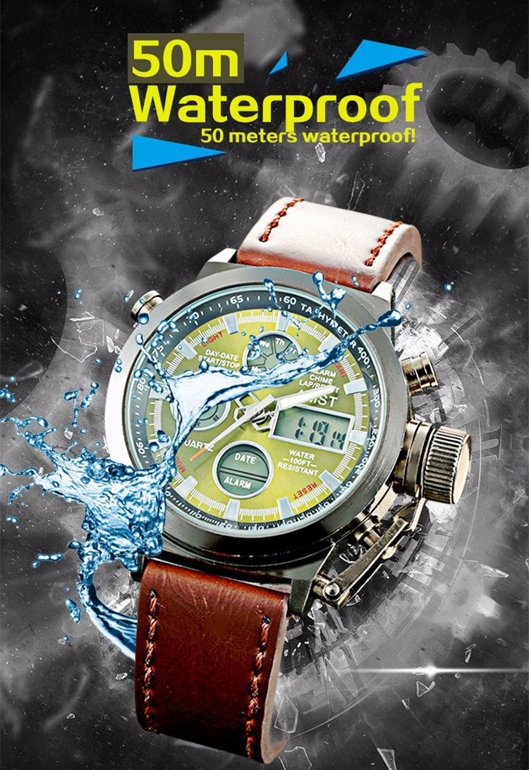 AMST Military Watches Dive 50M Nylon&Leather Strap LED Watches Men Top Brand Luxury Quartz Watch reloj hombre Relogio Masculino 7