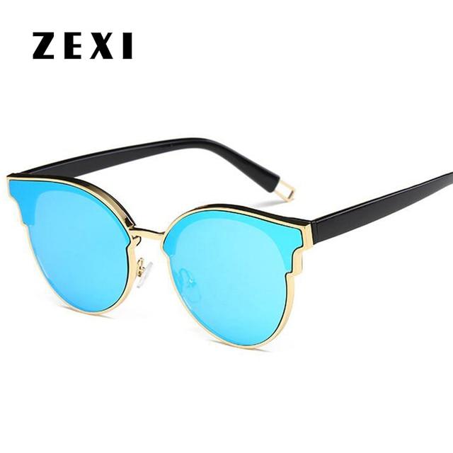 3bb6f3b58a ZEXI Women Cat Eye Sunglasses Blue Rimless Oversized Sun Glasses Cateyes  Round Mirror Elegant Fashion Eyewear 8105