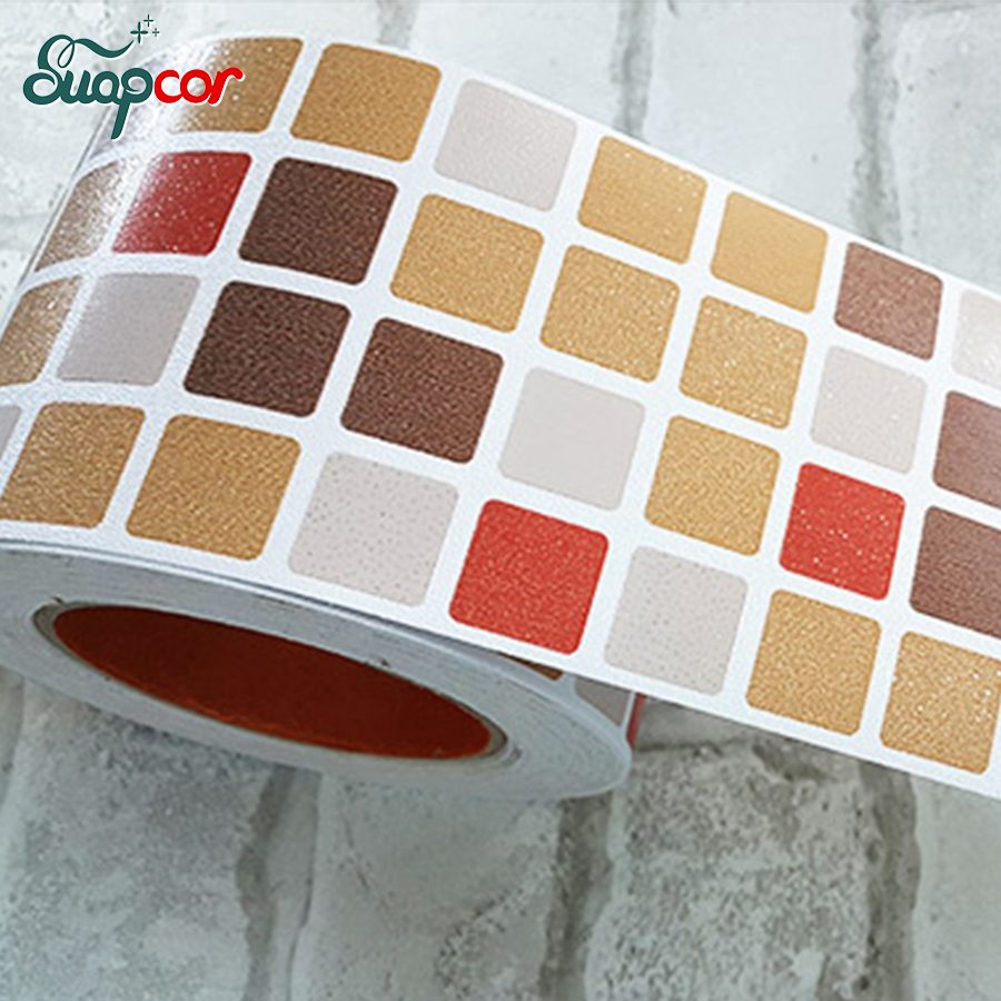 Korea waterproof wall sticker kitchen waistline for Self adhesive bathroom wallpaper
