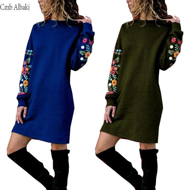 Unikalna konstrukcja ciepła Jesień zima sukienka 2019 Wokół szyi Wygodne Wysokiej jakości kwiat warm Zagęścić luźna Sukienka vestidos 02