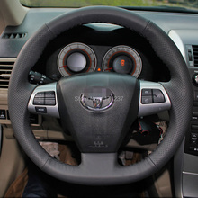Steering Wheel Cover Case for Toyota COROLLA 2011 RAV4 2012 Genuine Leather DIY Hand-stitched Car-styling Black Leather Covers