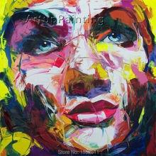 Palette knife painting portrait Palette knife Face Oil painting Impasto figure on canvas Hand painted Francoise Nielly 14-25 цена и фото