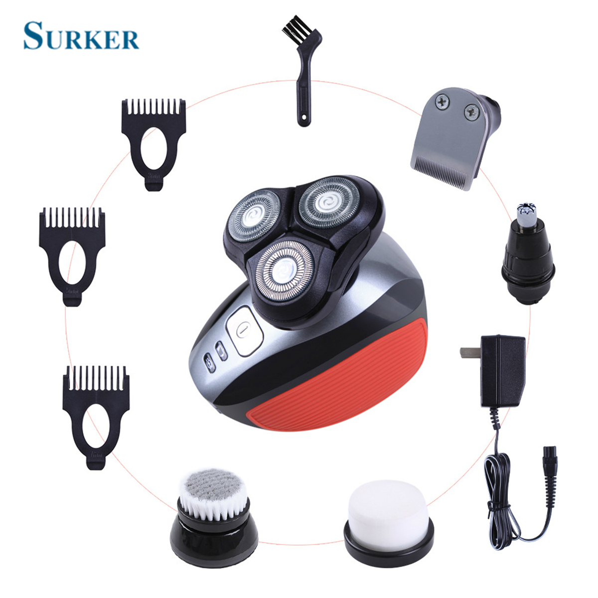 все цены на SURKER LK-1810 5 in1 Washable Rechargeable Electric Shaver Men Razor Beard Nose Hair Trimmer EU Plug Father 's Day Gift