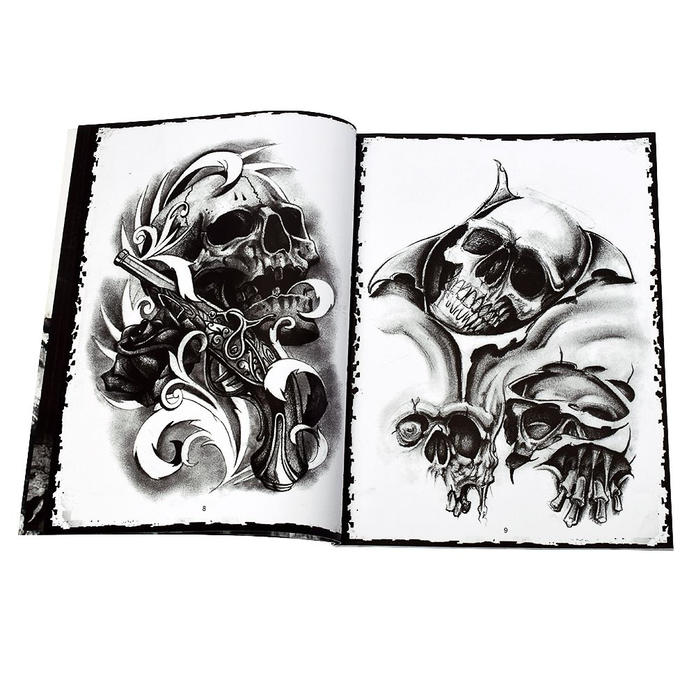 2019 New Professional Tattoo Flash Magazine Skull Book A4 Sketch Tattoo Design Book Supply For Tattoo Body Art Popular