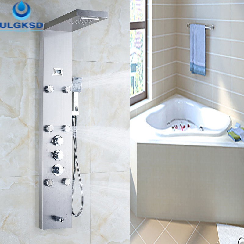 Ulgksd Bathroom Shower Faucet Thermostatic Shower Panel Shower Column Waterfall Rain Jet With Massage Tub Spout