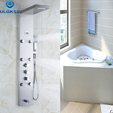 Ulgksd ванной смеситель для душа термостатический душ Панель душевая колонна водопад дождь jet с массажем Ванна Носик ручной набор для душа