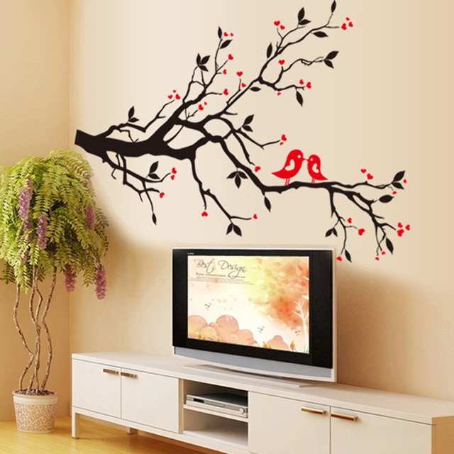 Modern Removable Birds in Love Wall Sticker for Home Decor