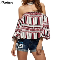 2018 New Summer Women Shirts Print Sexy Off Shoulder Shirts Casual Blouses Beach Clothing Loose Female