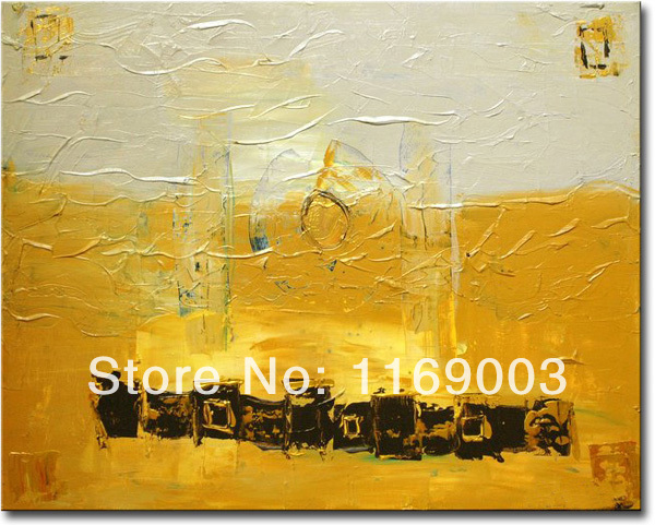 Cheap Abstract modern golden canvas art font b knife b font paint famous oil painting only