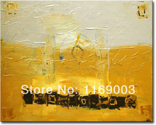 Cheap Abstract modern golden canvas art knife paint famous oil painting only on canvas for living room wall office decoration