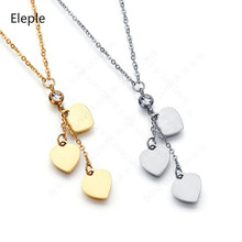 Eleple Titanium Steel 3 Hearts Chain Necklaces Female Fashion Love Long Pendant Anniversary Party Gifts Necklace Jewerly S-N176