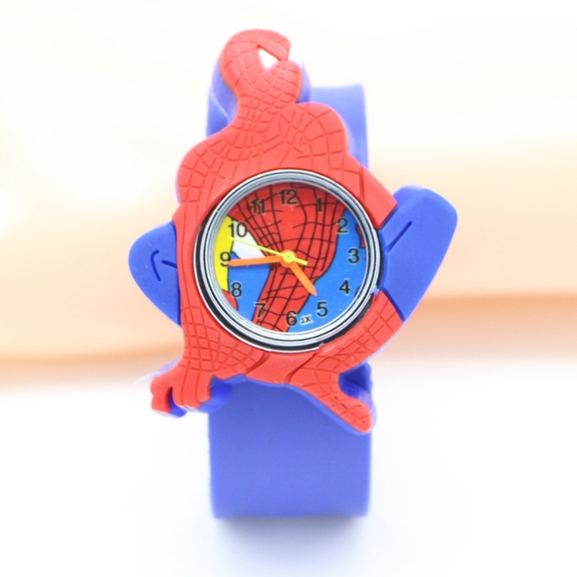 9335cbeb823 Moda infantil tapa relógios crianças Spiderman 3D dos desenhos animados  tapa silicone relógio de pulso Relogio