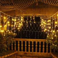 JULELYS 10 x 0.65M 320 Bulbs LED Curtain Lights Christmas Garland Window Outdoor LED Lights Decoration For Wedding Holiday Party