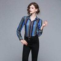 Женская рубашка с цветочным принтом и длинным рукавом, блузка с глубоким подолом, 2018 летняя блузка с отложным воротником, Женские официальн