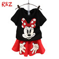 Retail Girls Summer Casual Clothing Sets Children Cartoon Mickey Minnie Pure Cotton T Shirt+ skirts 2pcs Kids Clothes