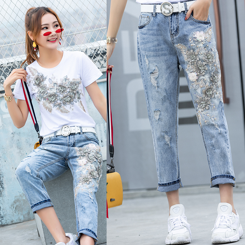 2019 New Style Women 3D Flower T-shirts Jeans Sets Appliques Embroidery Tshirts+Holes Jeans Pants Costumes Suits