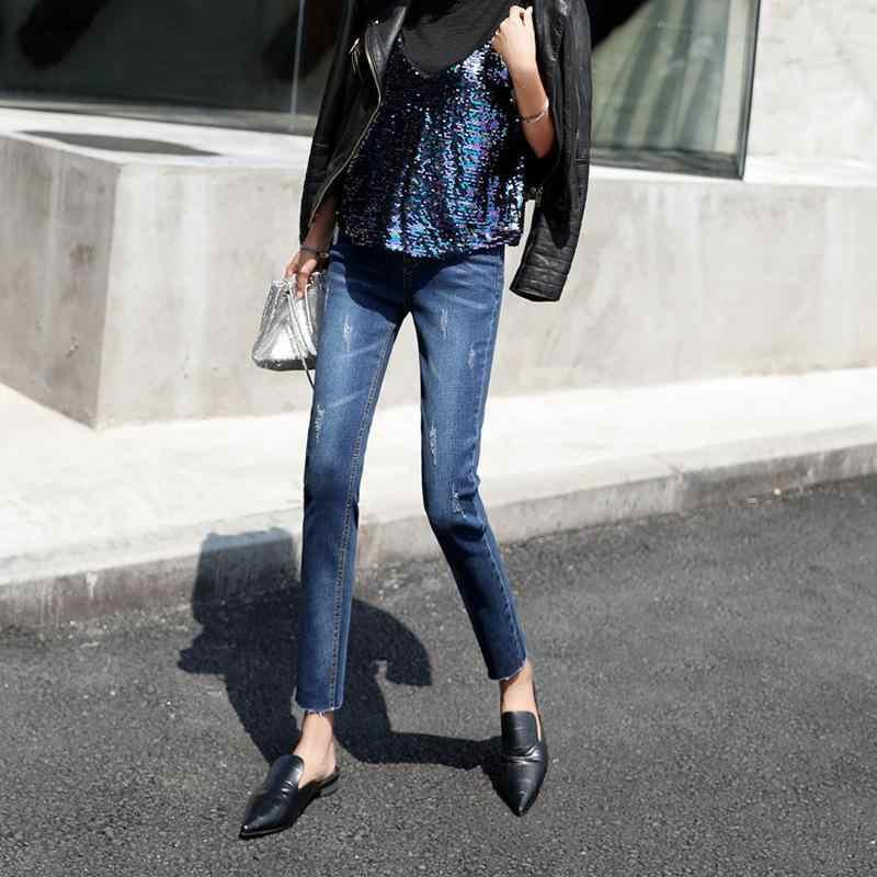 2019 Mode Jeans Broek Vrouwen Stretch Denim Blue Jeans Broek Capri Potlood Broek Dames Skinny Jeans Leggings Sexy Jeans Vrouw
