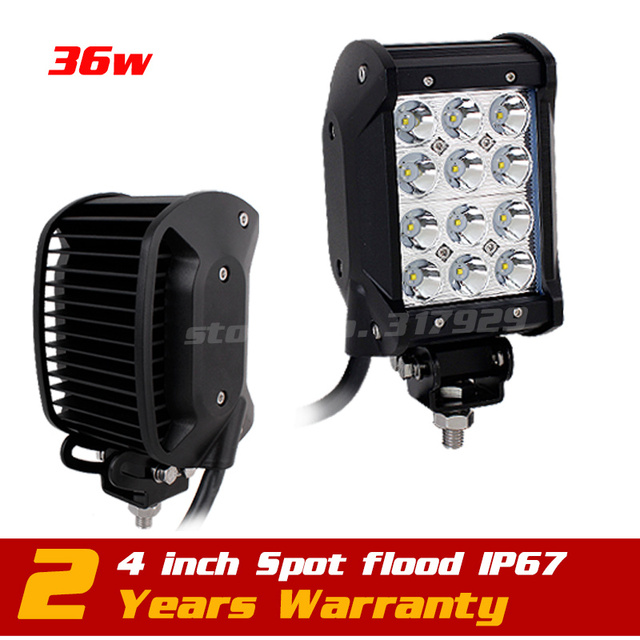 4inch 36w LED Work Light Bar Adjustable Bracket Truck Tractor ATV Off Road  Fog Light