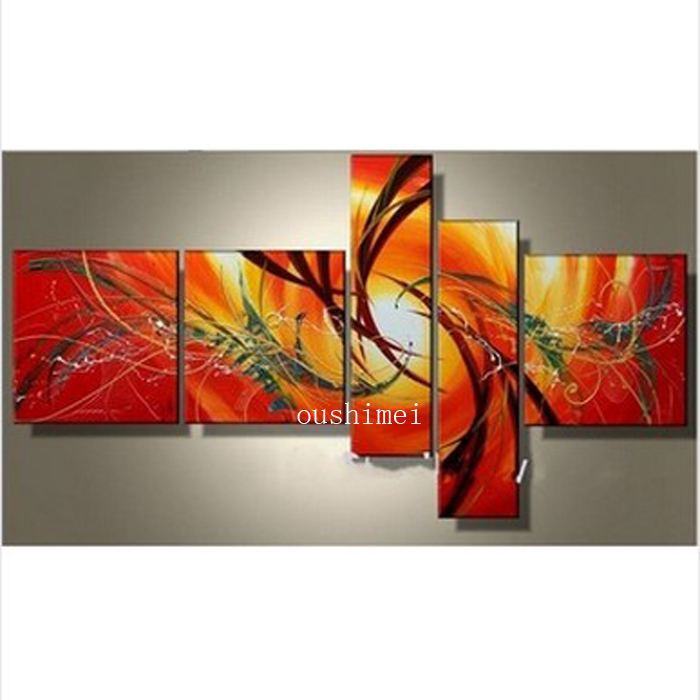 Hand Painted Sunlight Dance Charm Rays Abstract Group Landscape Wall Home Decor Oil Painting On Canvas