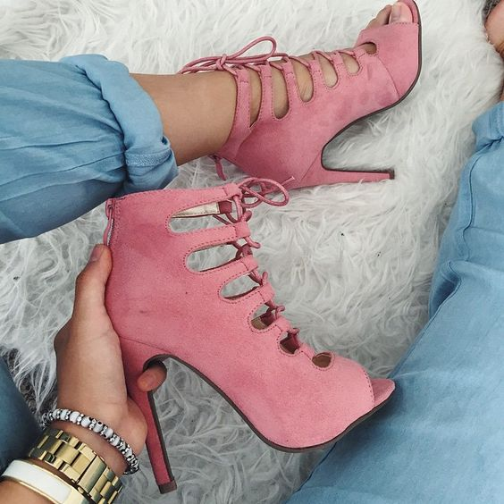f40b1845f2d US $58.65 15% OFF|new year arrival grey pink suede black peep toe short  boots lace up stiletto heel booties sexy ladies gladiator ankle boots-in  Ankle ...