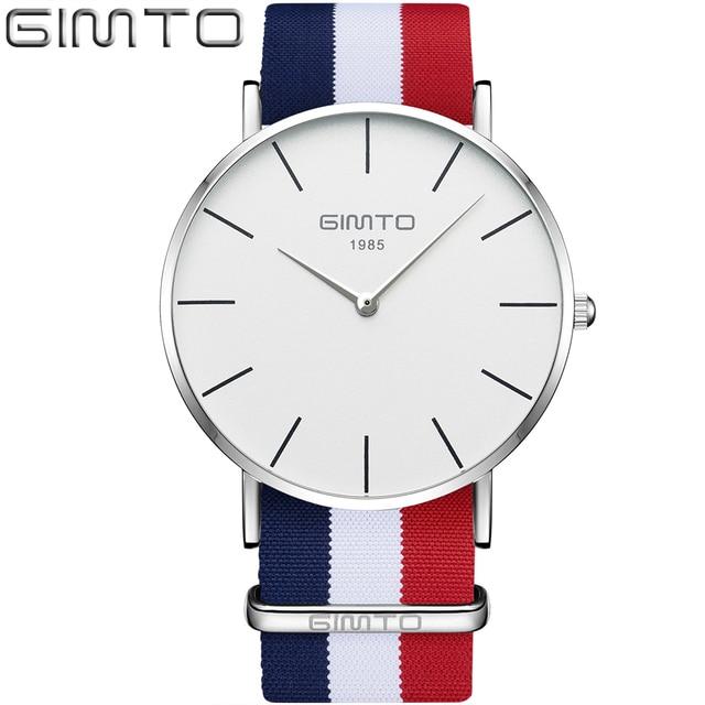 Top Brand GIMTO 2017 Nuovo Design Minimal Uomini Della Vigilanza Semplice  Nylon Orologi Caso Sottile Ultra 004d1dd7752