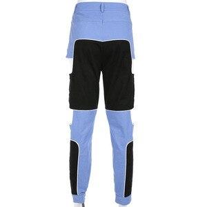 Image 5 - HEYounGIRL 하라주쿠 힙합 카고 바지 여성 중공업 하이 웨스트 바지 Streetwear Patchwork Sweatpants and Joggers Ladies