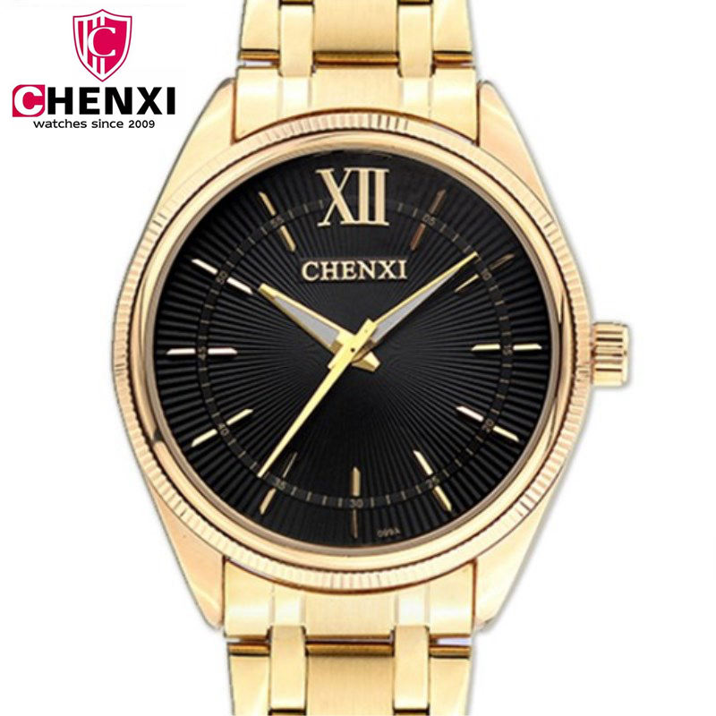 CHENXI Luxury Brand Man Gold Dress Watches Stainless Steel Unique Golden Woman Men Business Quartz Wristwatch Waterproof