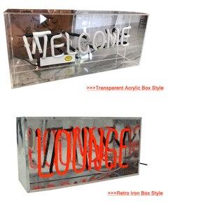 Image 5 - Vintage LOUNGE witamy neon Night Light prawdziwe szkło Tube rzemieślnicze na piwo do baru lampa Pub rekreacja Decor AC 220V 230V