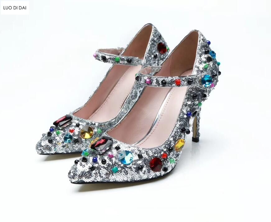 2018 fashion women glitter high heels thin heel diamond pumps party shoes crystal pumps bling bling dress shoes wedding shoes new 2018 women pumps party bling high heels gold silver fashion glitter heels women shoes sexy wedding shoes