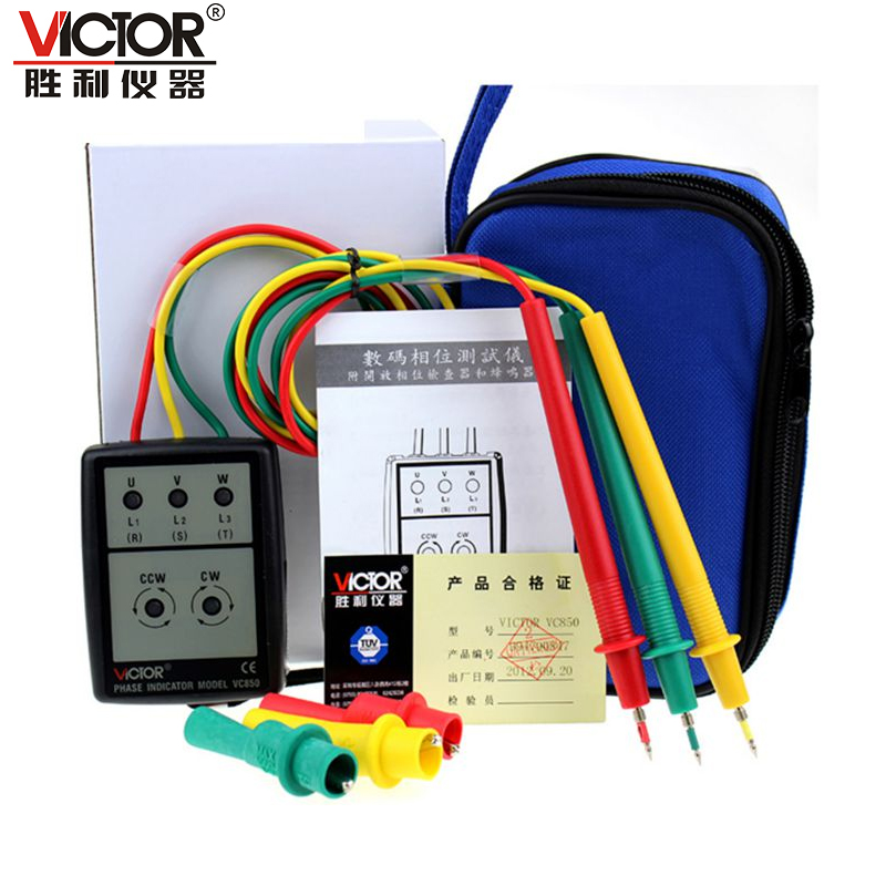 1pcs VICTOR VC850 3 Phase Sequence Rotation Indicator Tester 200~480V Checker Meter LED + Buzzer  цены