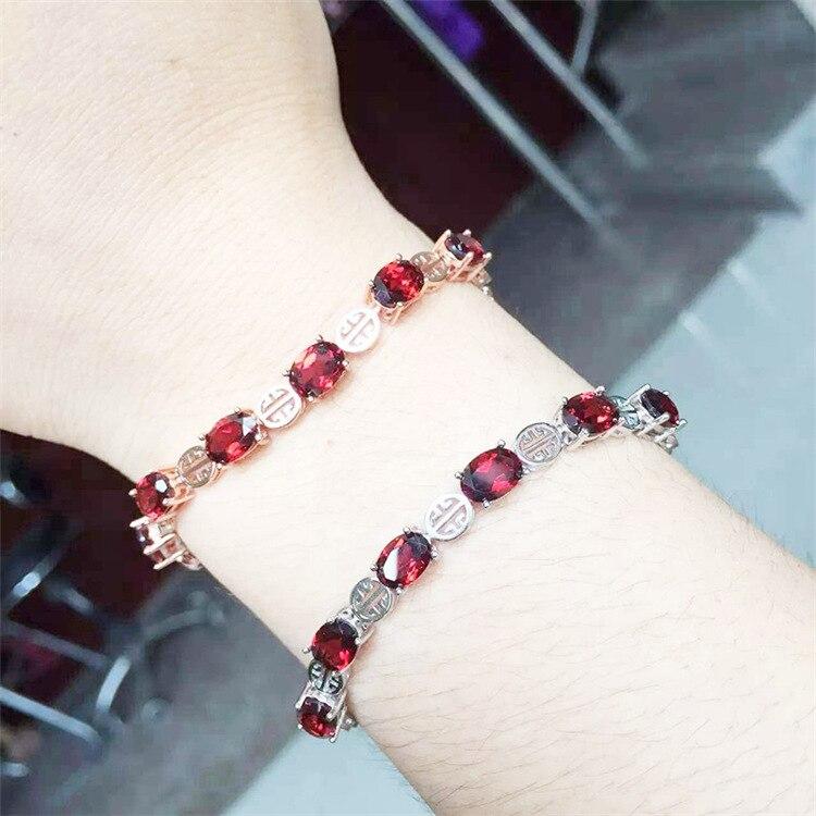 Thai argent gros 925 bijoux en argent sterling élégant dame bracelet rouge corindon bracelet