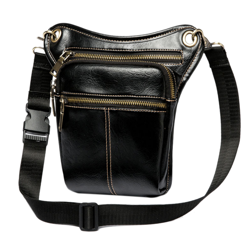 Fashion Waist Pack Men Leather Bag Vintage Drop Leg Bag Pack Thigh Belt Travel Male Motorcycle Riding Waist Pouches