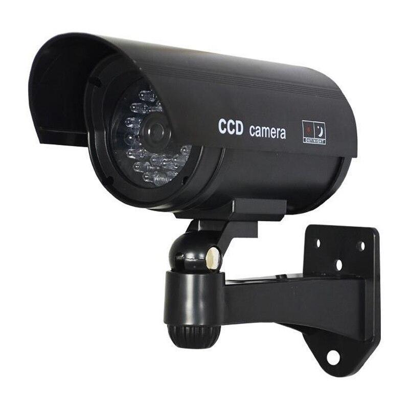 MOOL 3x Black Outdoor Dummy Fake LED Red Flashing Security Camera CCTV Surveillance Imitation mool 1 3 cctv 2 8mm lens black for ccd security box camera