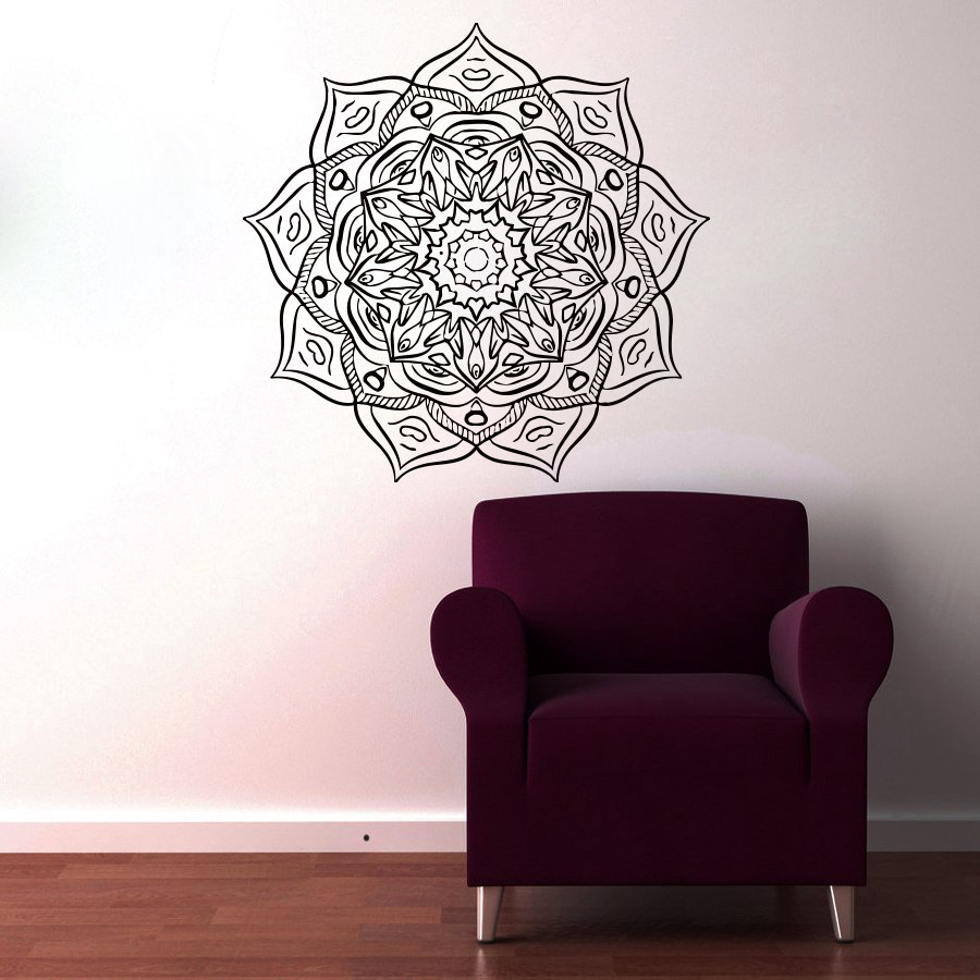 Most Popular Vinyl Art Wall Decals Mandala Flower Home Decor Indian Religious Pattern Wall Sticker