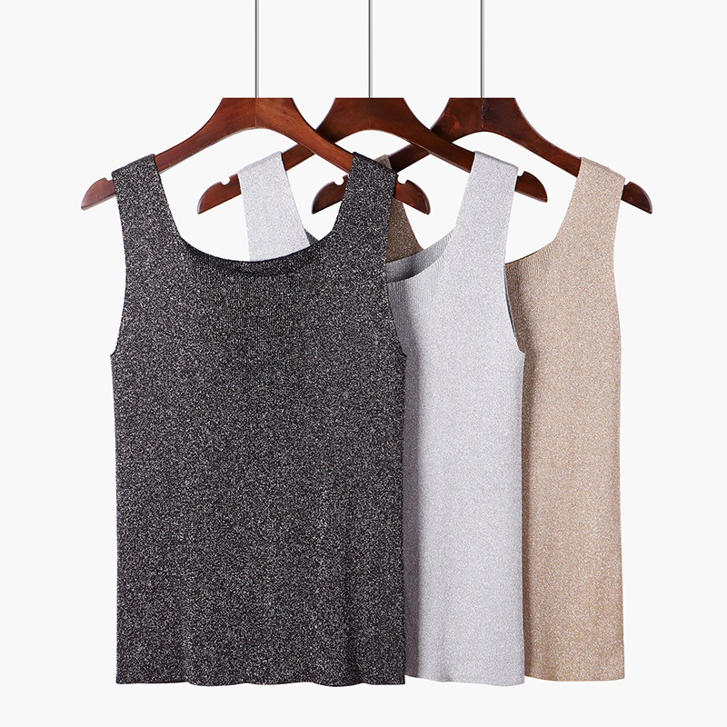 2019 U Neck Knitted Fabric Tank Top Womens Female Wide Strap Sleeveless T-shirts Fitness Vest For Ladies Sexy Summer Sequin Tops