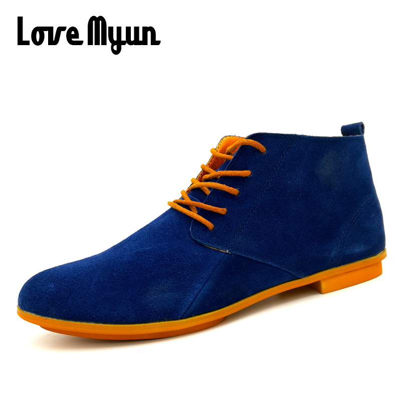 New mens fashion suede leather sneakers Breathable sneakers Martin ankle shoes Mens Casual Genuine Leather lace up Shoes AA-LH