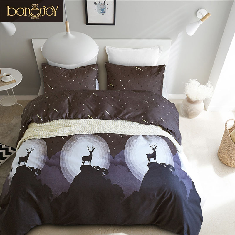 Bonenjoy Black Color Queen Size Duvet Cover Wapiti Reactive Printed Bed Linens plumones de cama King Beddings Meteor Bedclothes