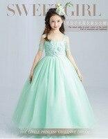 Doces de Hortelã Verde Vestido Da Menina Flor para o Casamento Tornozelo Comprimento Apliques de Contas Do Partido Dos Miúdos Vestidos de Primeira Comunhão Vestidos de Baile